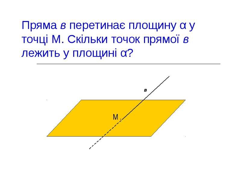 Пряма в перетинає площину α у точці М. Скільки точок прямої в лежить у площин...