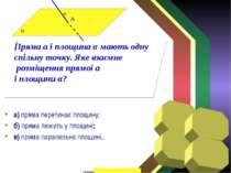 а) пряма перетинає площину; б) пряма лежить у площині; в) пряма паралельна пл...