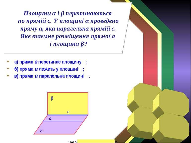 а) пряма а перетинає площину β; б) пряма а лежить у площині β; в) пряма а пар...