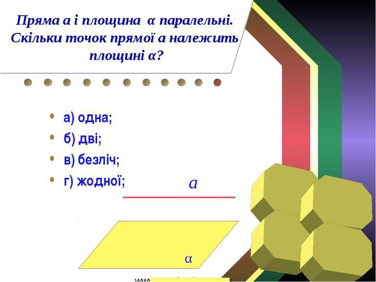 а) одна; б) дві; в) безліч; г) жодної; α а Пряма а і площина α паралельні. Ск...