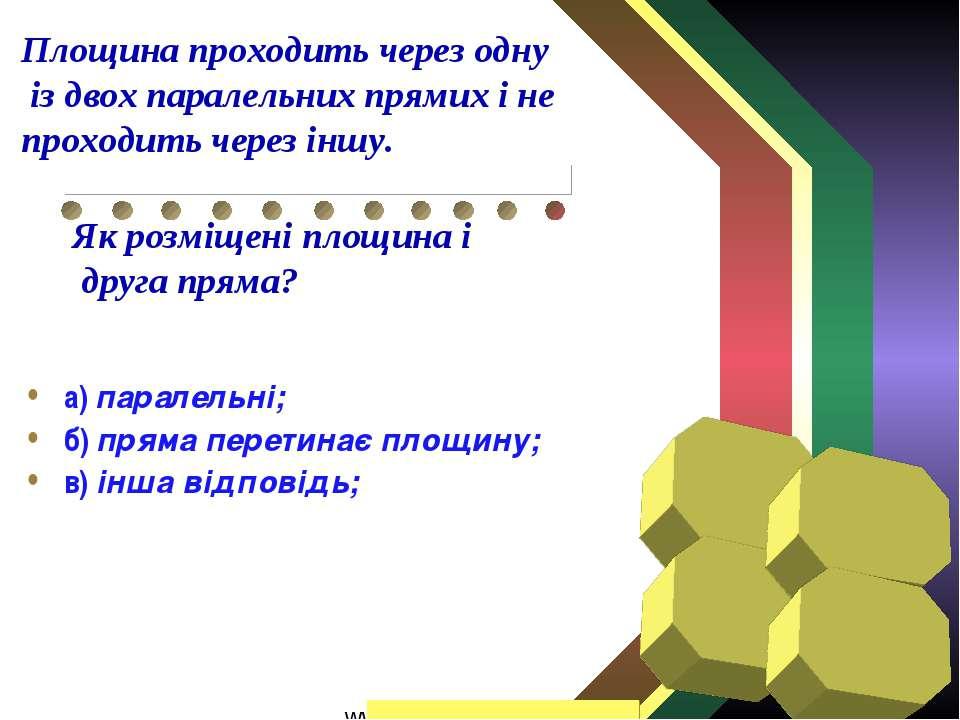 а) паралельні; б) пряма перетинає площину; в) інша відповідь; Площина проходи...