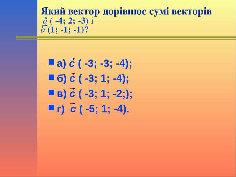 Який вектор дорівнює сумі векторів a ( -4; 2; -3) і b (1; -1; -1)? а) с ( -3;...