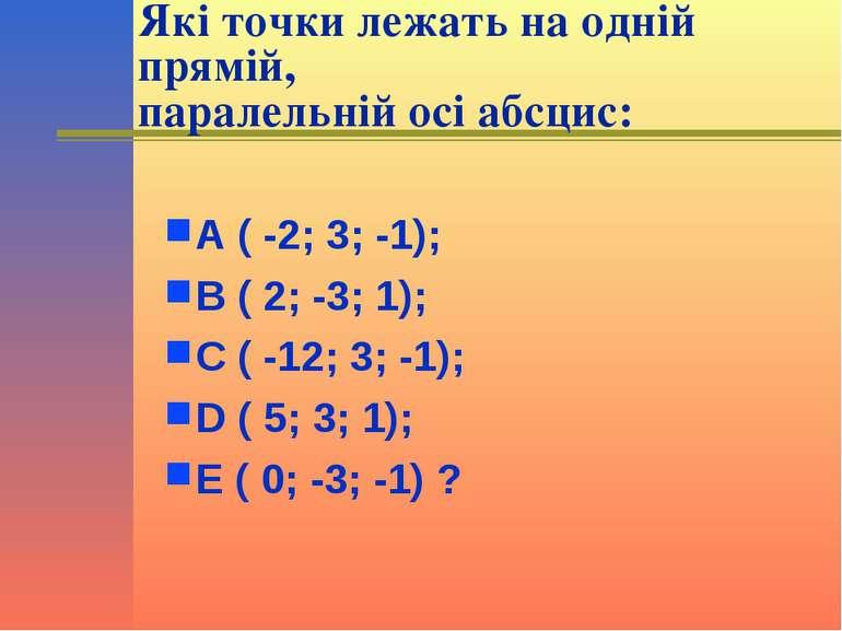 Які точки лежать на одній прямій, паралельній осі абсцис: А ( -2; 3; -1); В (...