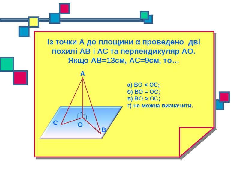 Із точки А до площини α проведено дві похилі АВ і АС та перпендикуляр АО. Якщ...