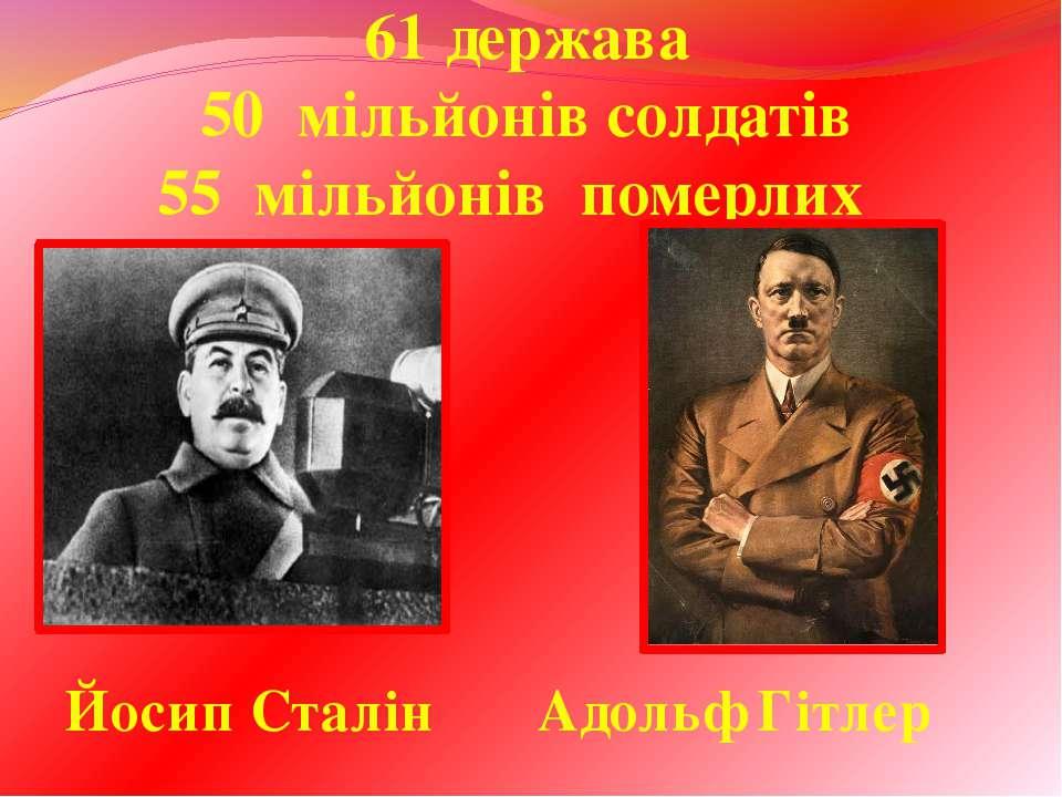 61 держава 50 мільйонів солдатів 55 мільйонів померлих Йосип Сталін Адольф Гі...