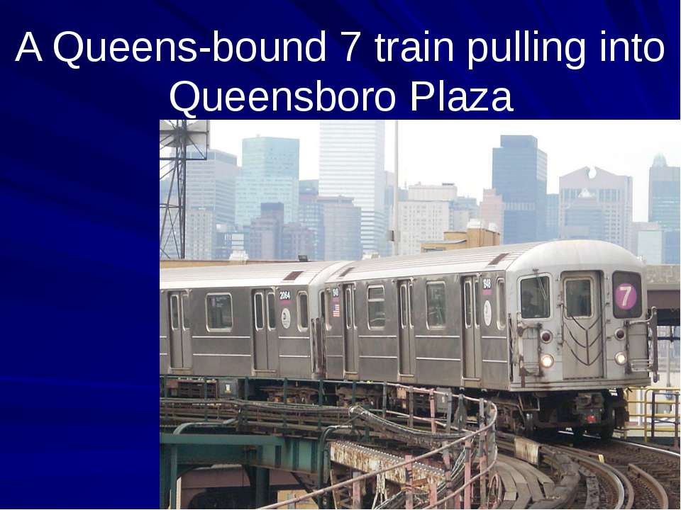 A Queens-bound 7 train pulling into Queensboro Plaza