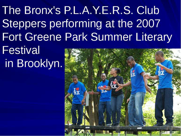 The Bronx's P.L.A.Y.E.R.S. Club Steppers performing at the 2007 Fort Greene P...