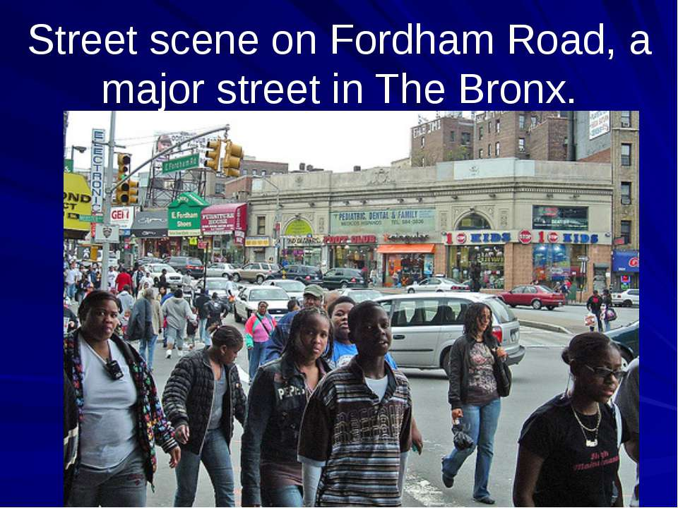 Street scene on Fordham Road, a major street in The Bronx.
