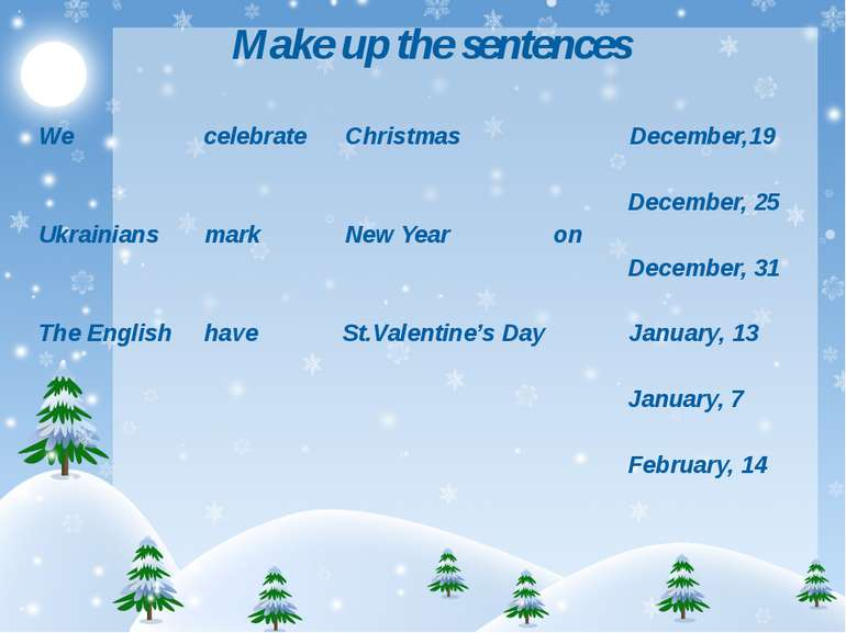 Make up the sentences We celebrate Christmas December,19 December, 25 Ukraini...