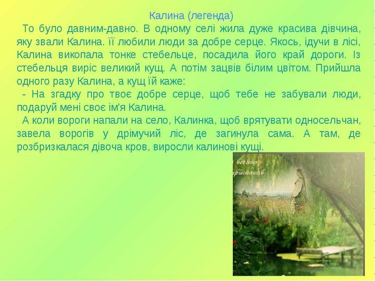 Калина (легенда) То було давним-давно. В одному селі жила дуже красива дівчин...