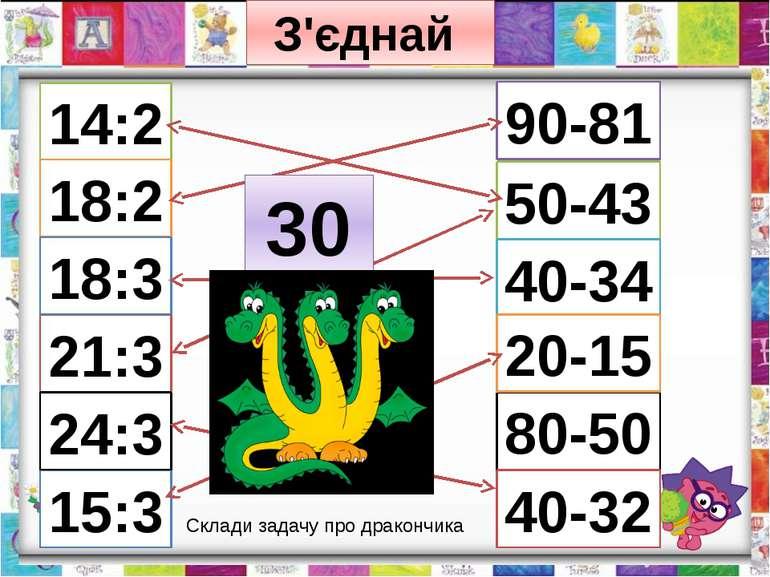 З'єднай 14:2 21:3 18:2 18:3 15:3 24:3 80-50 50-43 40-34 20-15 40-32 90-81 30 ...