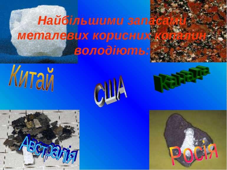 Найбільшими запасами металевих корисних копалин володіють: