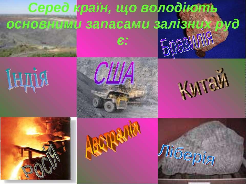 Серед країн, що володіють основними запасами залізних руд є: