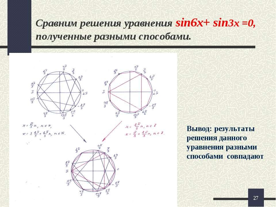 * Сравним решения уравнения sin6x+ sin3x =0, полученные разными способами. Вы...