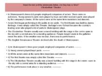 Read the text and the statements below. Are they true or false? Elizabethan T...
