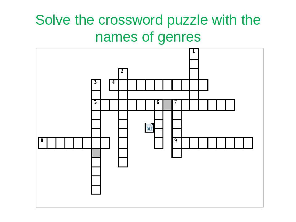 Solve the crossword puzzle with the names of genres