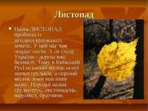 Листопад Назва ЛИСТОПАД прийшла із західноукраїнських земель. У цей час там о...