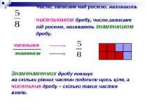 Число, записане над рискою, називають чисельником дробу, число,записане під р...