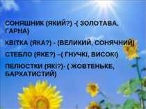 СОНЯШНИК (ЯКИЙ?) -( ЗОЛОТАВА, ГАРНА) КВІТКА (ЯКА?) - (ВЕЛИКИЙ, СОНЯЧНИЙ) СТЕБ...