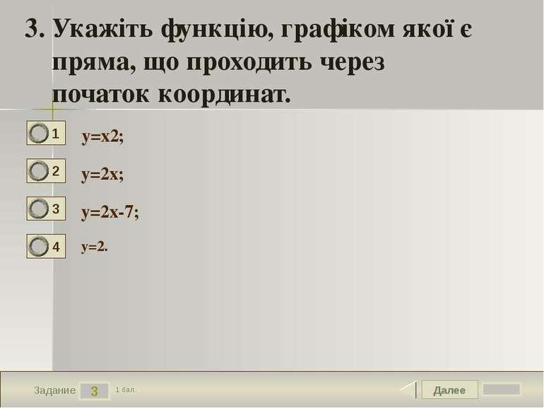Далее 3 Задание 1 бал. 3. Укажіть функцію, графіком якої є пряма, що проходит...