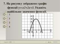 Далее 7 Задание 1 бал. 7. На рисунку зображено графік функції у=-x2+2x+3. Ука...