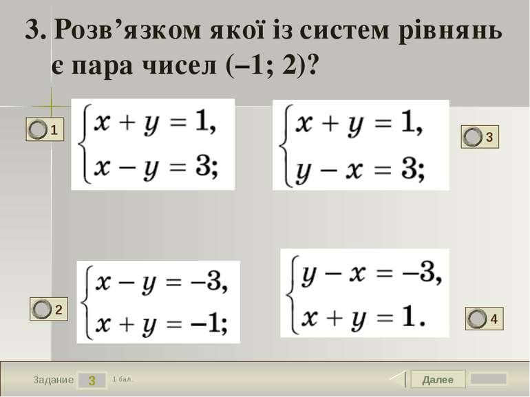 Далее 3 Задание 1 бал. 3. Розв'язком якої із систем рівнянь є пара чисел (–1;...