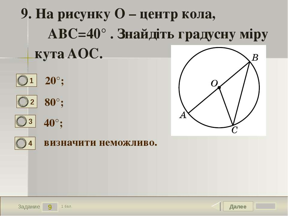 Далее 9 Задание 1 бал. 9. На рисунку O – центр кола, ∠ABC=40° . Знайдіть град...
