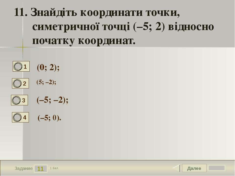 Далее 11 Задание 1 бал. 11. Знайдіть координати точки, симетричної точці (–5;...