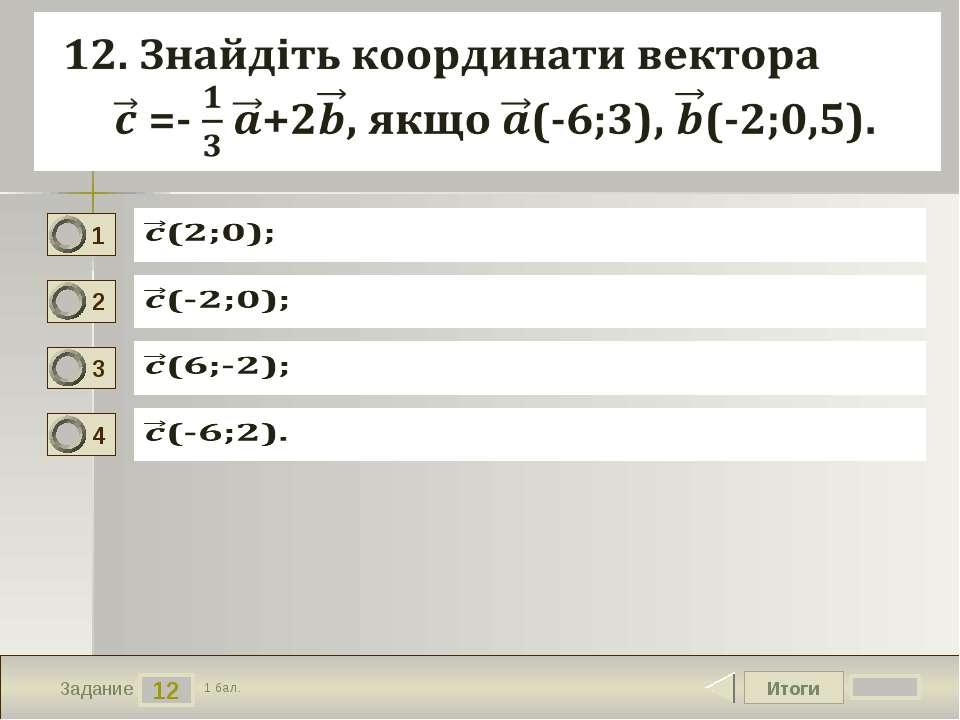 Итоги 12 Задание 1 бал. 1 2 3 4 Текст задания Вариант ответа № 1 Вариант отве...