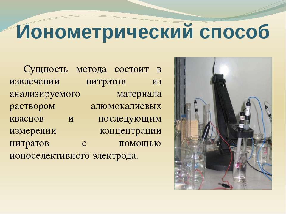 Сущность метода состоит в извлечении нитратов из анализируемого материала рас...