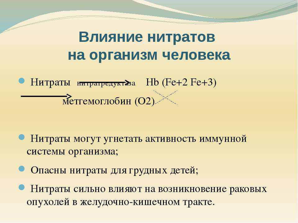 Нитраты нитратредуктаза Hb (Fe+2 Fe+3) метгемоглобин (O2) Нитраты могут угнет...