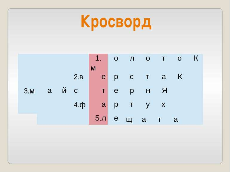 Кросворд 1.м о л о т о К 2.в е р с т а К 3.м а й с т е р н Я 4.ф а р т у х 5....