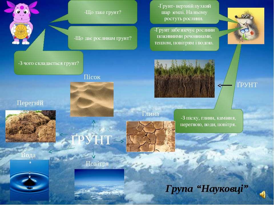 -З піску, глини, каміння, перегною, води, повітря. -Що таке ґрунт? -Ґрунт- ве...