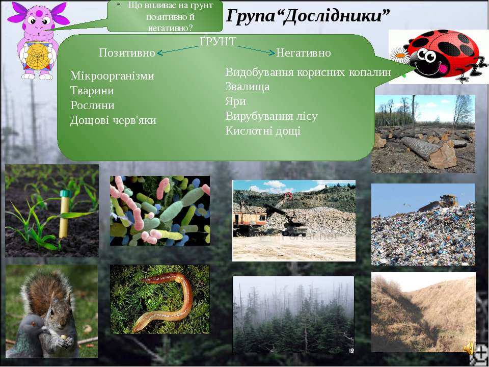 Що впливає на ґрунт позитивно й негативно? Позитивно Мікроорганізми Тварини Р...