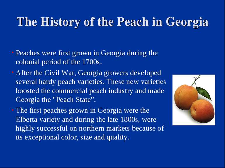 The History of the Peach in Georgia Peaches were first grown in Georgia durin...