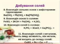 Добування солей 8. Взаємодія сильних основ з амфотерними гідроксидами: Ba(OH)...