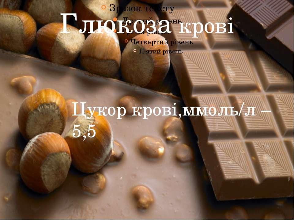 Глюкоза крові Цукор крові,ммоль/л – 5,5
