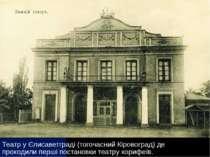 Театр Корифеїв Театр у Єлисаветграді (тогочасний Кіровоград) де проходили пер...