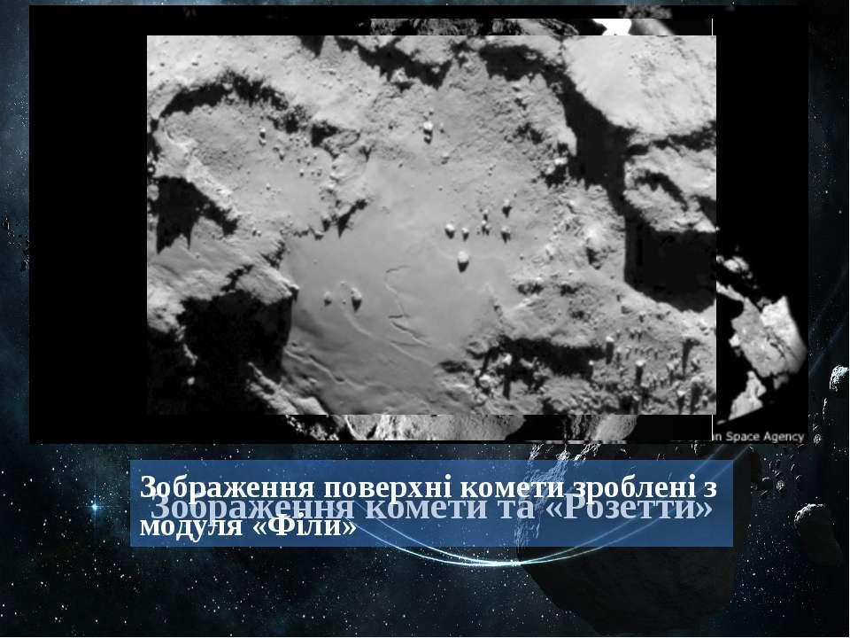 Зображення комети та «Розетти» Зображення поверхні комети зроблені з модуля «...