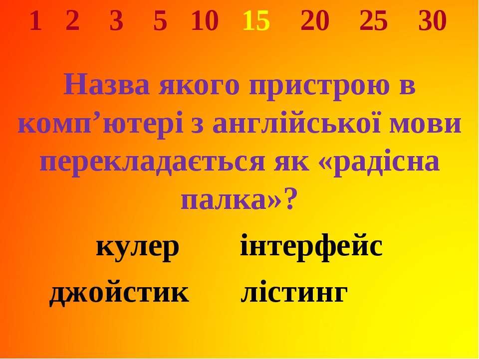 1 2 3 5 10 15 20 25 30 Назва якого пристрою в комп'ютері з англійської мови п...