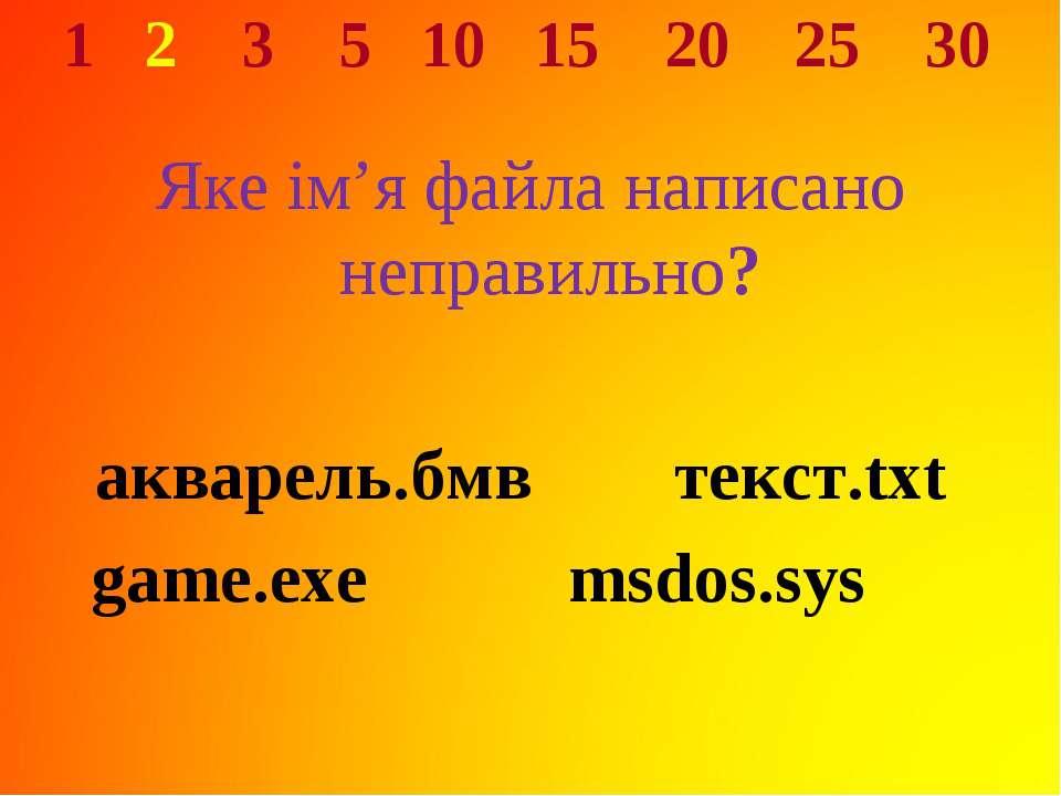 1 2 3 5 10 15 20 25 30 Яке ім'я файла написано неправильно? акварель.бмв текс...