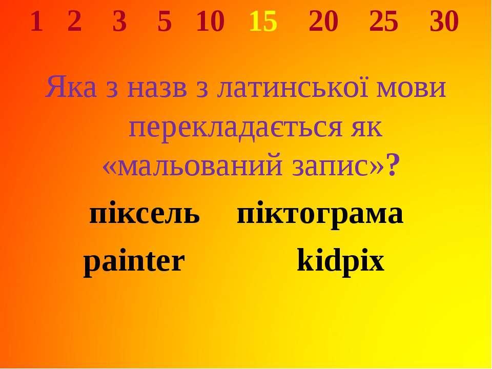 1 2 3 5 10 15 20 25 30 Яка з назв з латинської мови перекладається як «мальов...