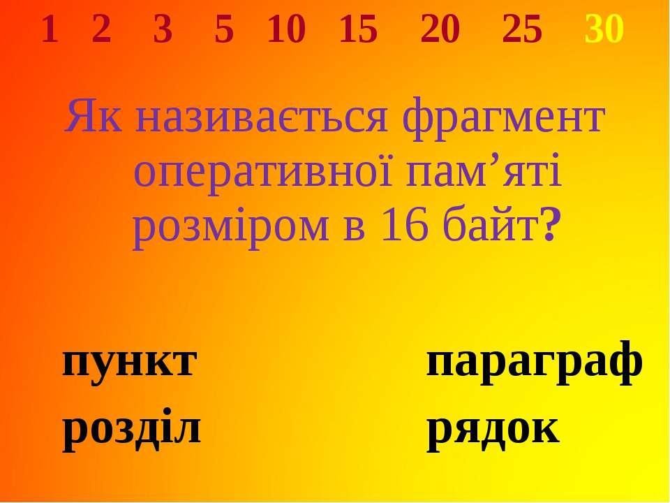 1 2 3 5 10 15 20 25 30 Як називається фрагмент оперативної пам'яті розміром в...