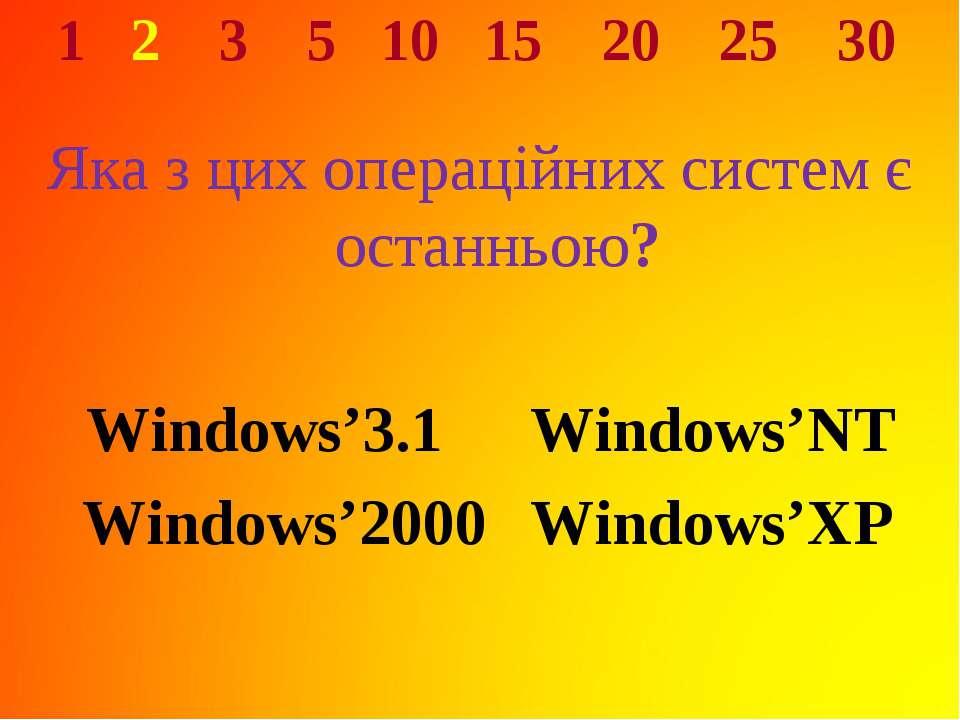 1 2 3 5 10 15 20 25 30 Яка з цих операційних систем є останньою? Windows'3.1 ...