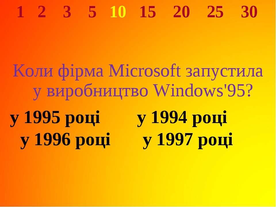 1 2 3 5 10 15 20 25 30 Коли фірма Microsoft запустила у виробництво Windows'9...