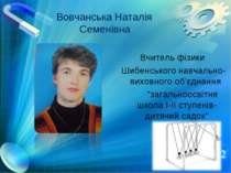 Вовчанська Наталія Семенівна Вчитель фізики Шибенського навчально-виховного о...