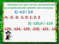 Назвіть усі цілі числа, розташовані на координатній прямій між числами: 1) -4...