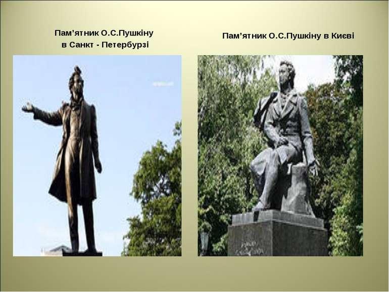 Пам'ятник О.С.Пушкіну в Санкт - Петербурзі Пам'ятник О.С.Пушкіну в Києві