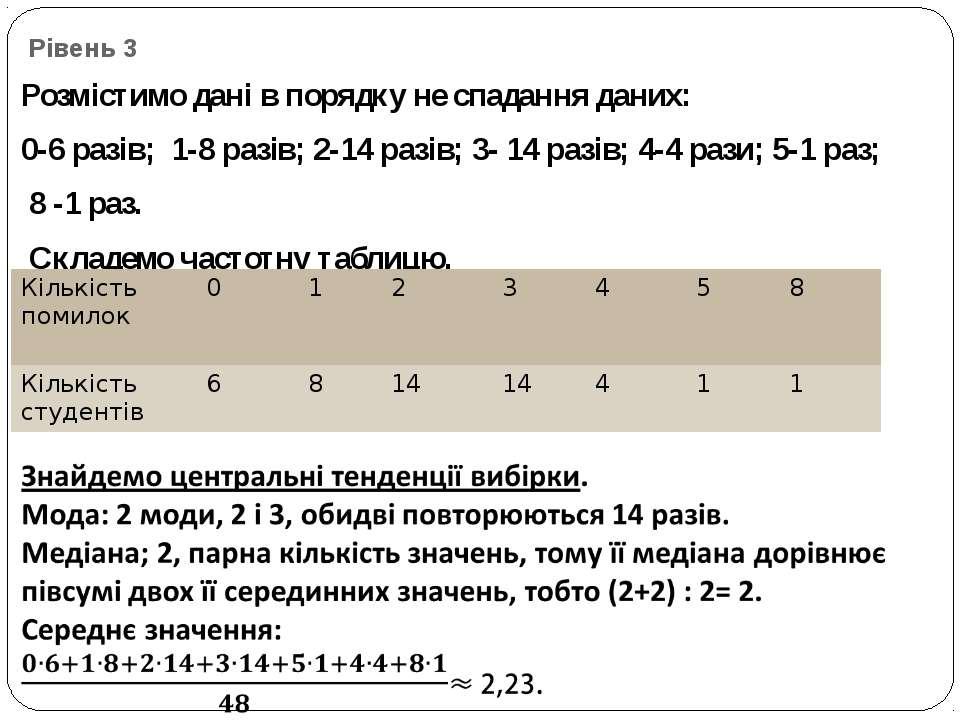 Рівень 3 Розмістимо дані в порядку не спадання даних: 0-6 разів; 1-8 разів; 2...
