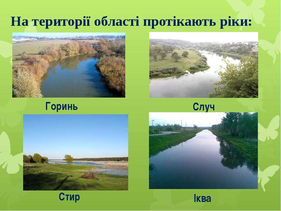 На території області протікають ріки: Горинь Случ Стир Іква